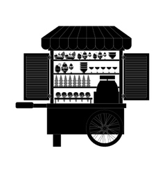 Monochrome silhouette with ice cream bike vector