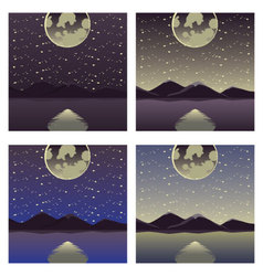 Mountains and the lake in the moonlight vector