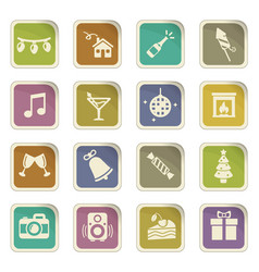New year icon set vector