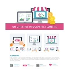 On-line shopping inforaphic elements set mobile vector image