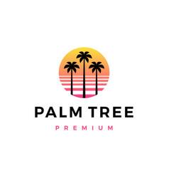 palm tree sunset logo icon vector image