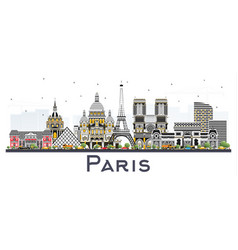 Paris france city skyline with color buildings vector