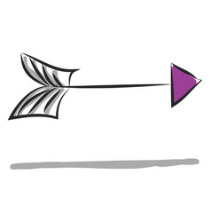purple arrow showing right color on white vector image