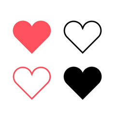 red hearts and black hearts flat icons2 vector image