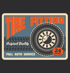 retro poster for car tire fitting vector image