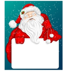 Santa Claus holds banner for text vector image