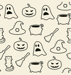 seamless black and white halloween background vector image