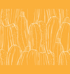 seamless pattern pumpkins white outline on a vector image