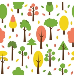 Seamless tree pattern in flat style Cute vector
