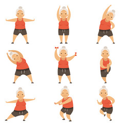 Senior woman doing morning exercises active and vector