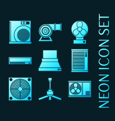 set conditioning system glowing neon icons vector image