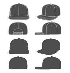 set images a rapper cap with a flat visor vector image