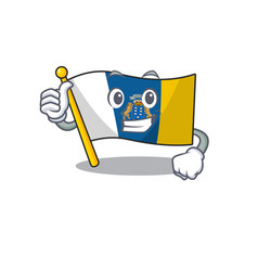 Smiley mascot flag canary island scroll making vector
