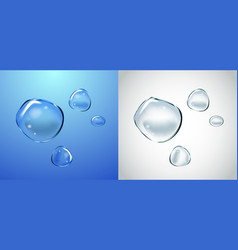Soap water bubbles set transparent isolated vector