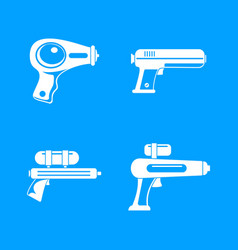 Squirt gun water pistol icons set simple style vector