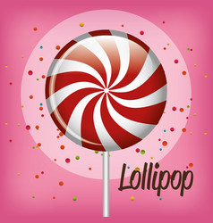 sweet lollipop spiral confetti and pink background vector image