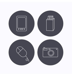 Tablet PC USB flash and photo camera icons vector image