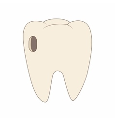 Tooth with caries icon cartoon style vector