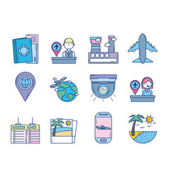 travel aviation transport airport icons vector image