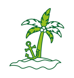Tree palm with anchor summer icon vector