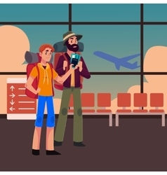 Two man travelling hitchhiking with backpacks and vector image