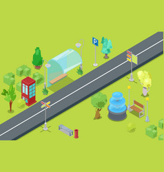 urban park and road isometric view for leisure and vector image