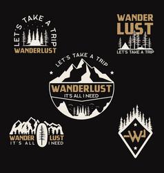 vintage camp logos mountain badges set hand vector image