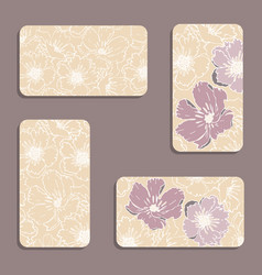 vintage floral visiting card set vector image