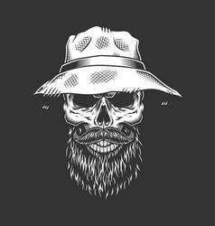 vintage monochrome male skull vector image