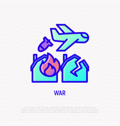 war thin line icon airplane throws off a bomb vector image