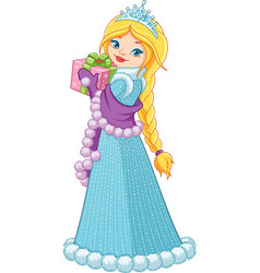 winter princess with a gift vector image