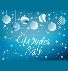 winter sale background with christmas balls and vector image