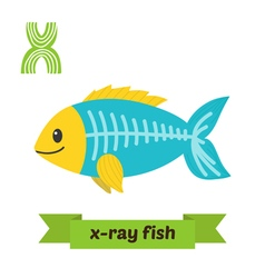 X ray fish X letter Cute children animal alphabet vector
