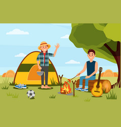 young couple in camping woman waving hand man vector image