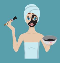 young girl applying black beauty mask vector image