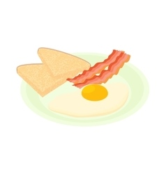Bacon and eggs icon cartoon style vector image vector image
