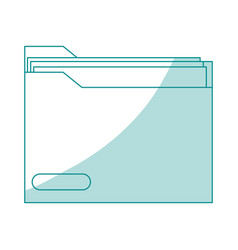 blue silhouette shading folder with documents vector image vector image