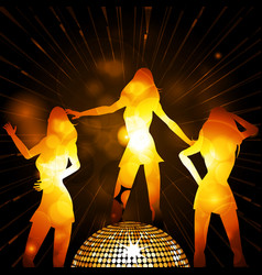 female glowing silhouettes and disco ball vector image vector image
