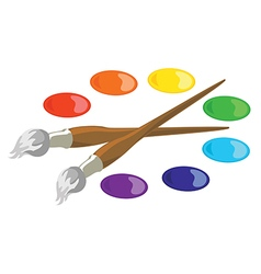 Paintbrushes and basic paint colors vector image