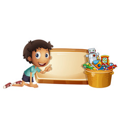 boy and toys in the bucket vector image vector image