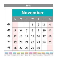 Desk Calendar for 2017 Year November Design Print vector image