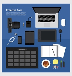 Flat Design Creative Tool vector image vector image
