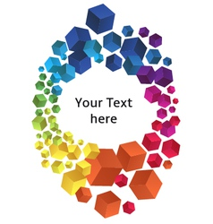 Frame with colorful 3D cubes vector image vector image