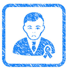 gentleman with mourning ribbon framed stamp vector image vector image