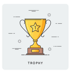 golden trophy cup thin line concept vector image