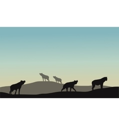 Silhouette of panther in hills vector image vector image