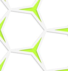 White hexagonal net and green stars seamless vector image vector image
