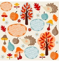 Autumn fall seamless pattern with fruit hedgehogs vector image