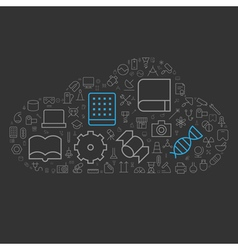icons shape line technology industry science cloud vector image