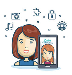 woman community online smartphone with app media vector image